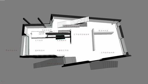 Дом особняк, благоустроенный дом коттедж Вид сверху разрез  Благовещенка Пятницкое 12 -30 008