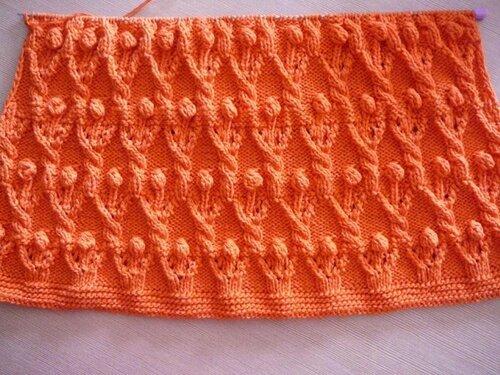0 45776 c874478f L Оранжевый жакет, вязаный спицами