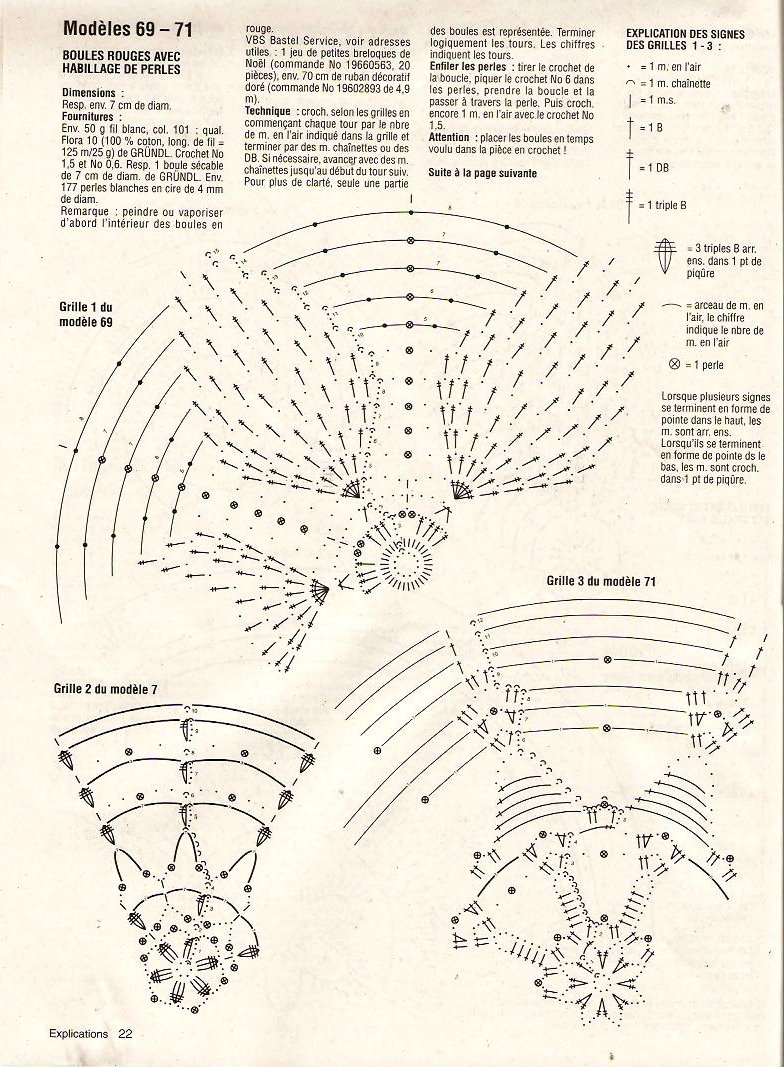 Схема вязания крючком новогодних шаров 30