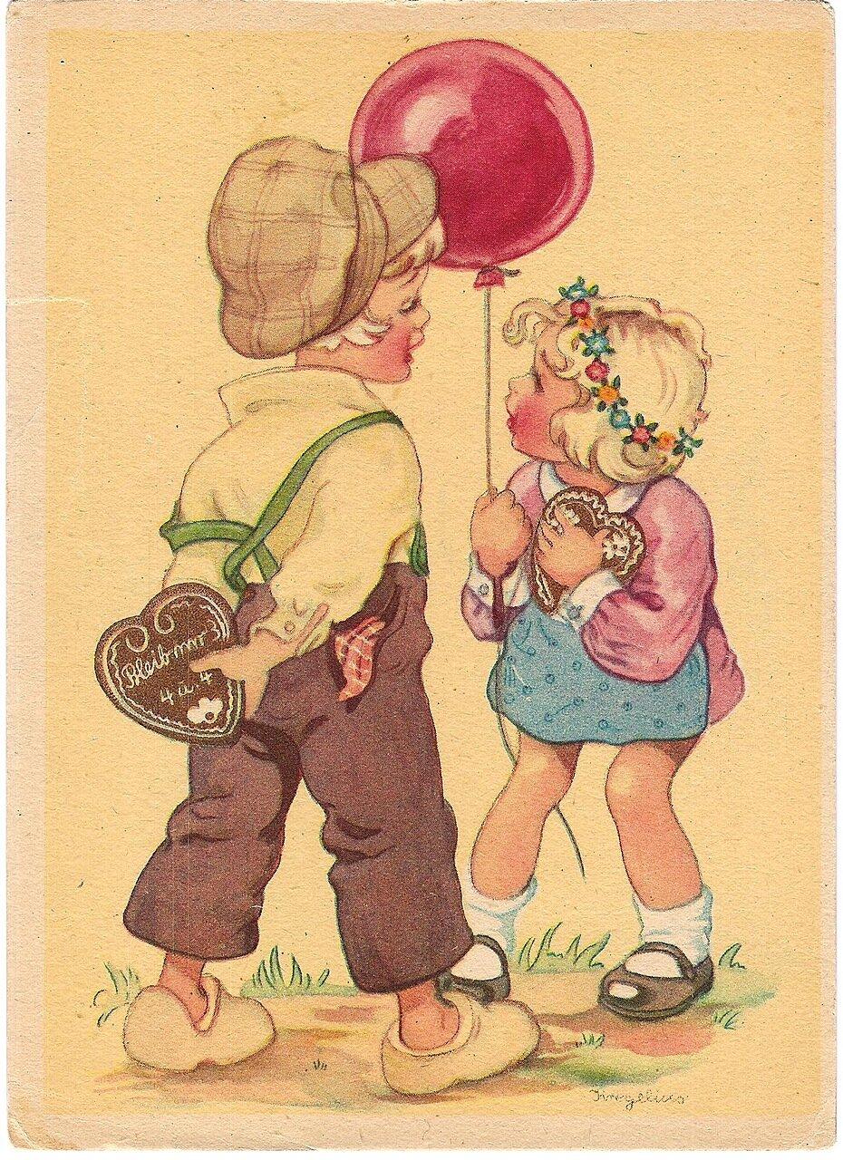 Смешной, картинка немецкой открытки