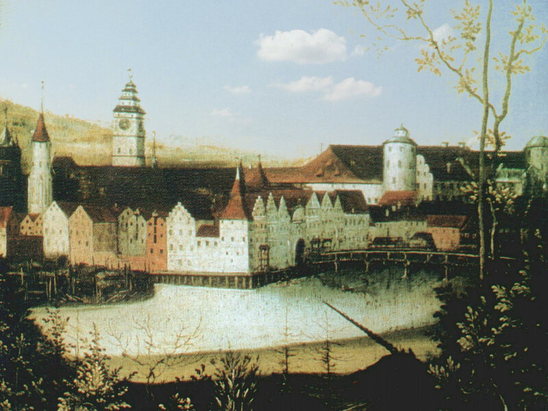1557 Первое реалистическое изображение Кёнигсберга. Фрагмент эпитафии Ганса Нимпча, которая находилась в северном нефе Кёнигсбергского собора2.jpg