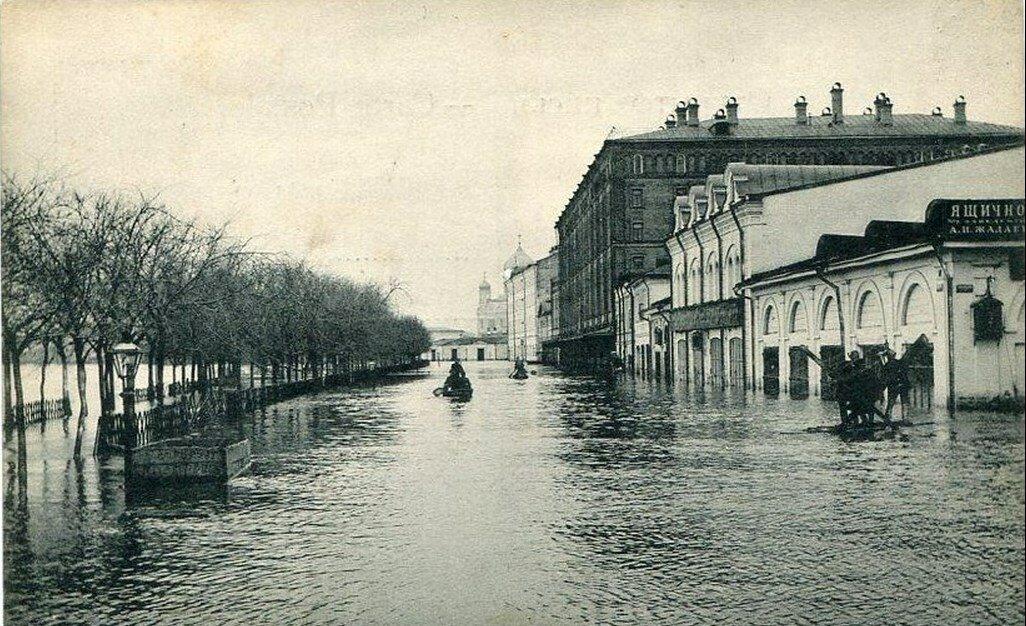 Наводнение 1908 года. Кокоревский бульвар