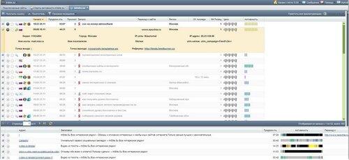 Просмотр и анализ статистики ваших сайтов.Просмотр действий посетителей.