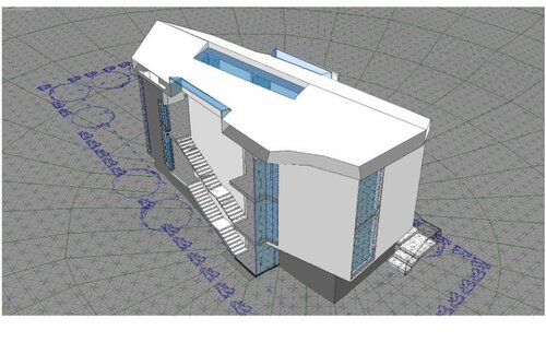 Разрез по лестнице во фронт бокового фасада