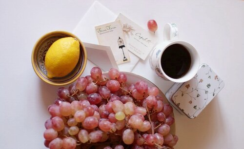 кофе, лимон, виноград)
