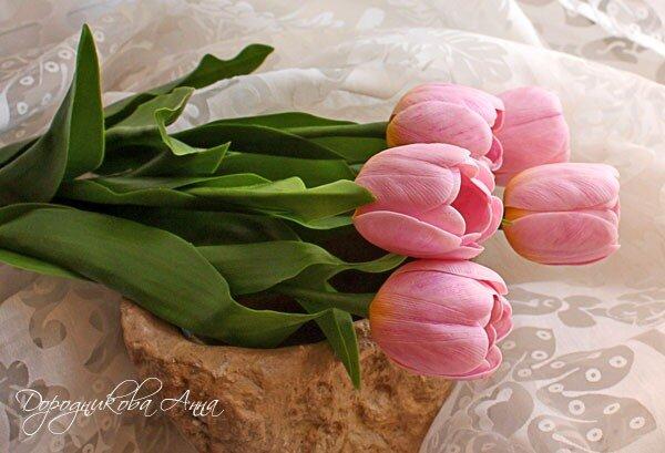 плотная ткань тюльпаны из мастики пошаговое фото необходимый набор