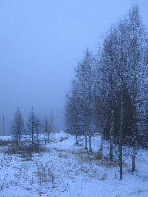 Озеро Уннукка в снежном тумане