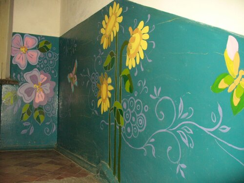 Роспись на стене своими руками в подъезде