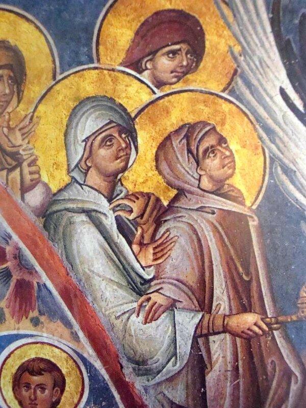 Явление Ангела жёнам-мироносицам. Фреска монастыря Ватопед на Святой Горе Афон. Фрагмент. Жёны-мироносицы.