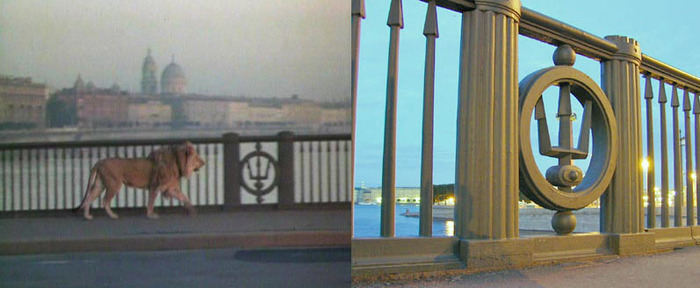 43. Лев же гордо идет по Биржевому мосту, до которого он тоже ехал на трамвае. Мистика. Биржевой мос