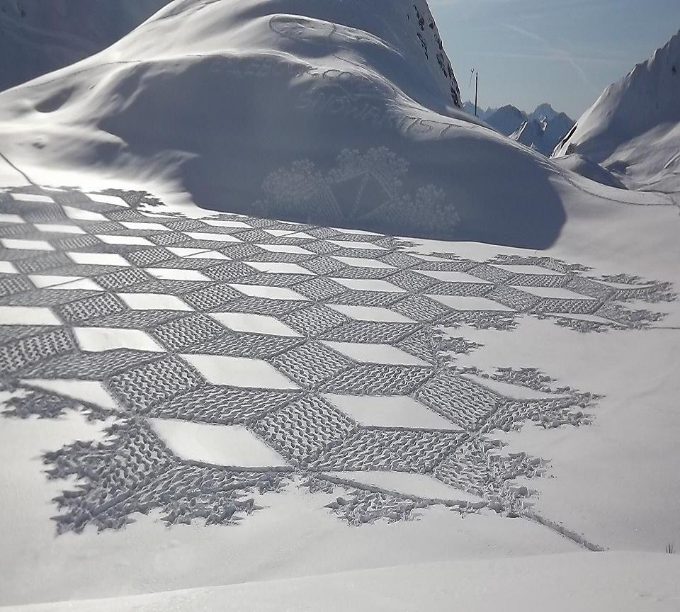 3D рисунки на снегу