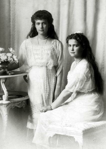 Russian Royalty. pic: circa 1915. The Grand Duchesses Anastasia, left, and Maria two of the daughters of The Tsar Nicholas II and Empress Alexandra.