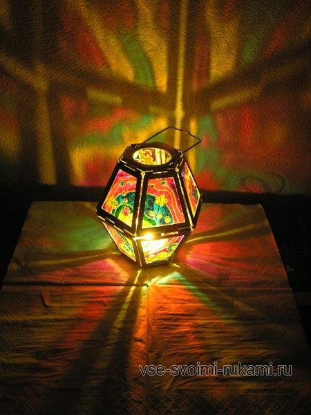 роспись по стеклу - декор домашнего фонарика