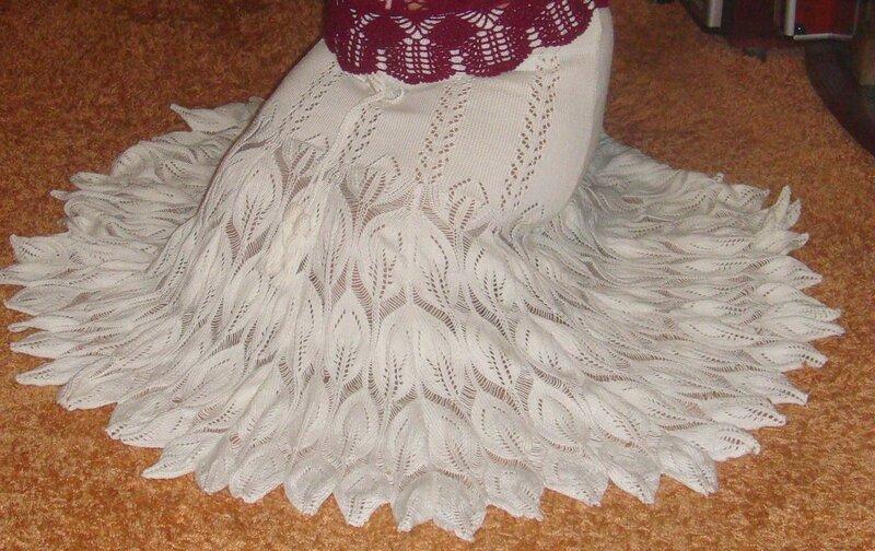 Узор для юбки павлиний хвост спицами