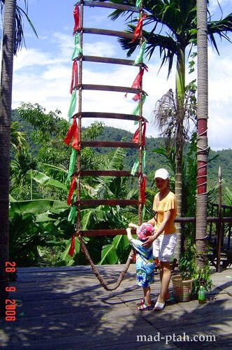 лестница их ножей, деревня ли и мяо, хайнань, китай