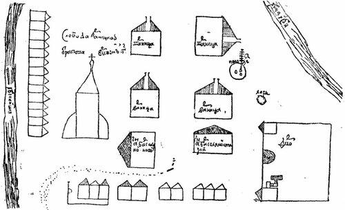 Рисунок 145. Даниловский соляной завод вблизи речки Ишни (чертёж XVII века)