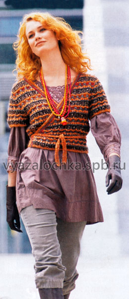 Его можно носить поверх водолазки или рубашки с длинным рукавом.  Схема вязания жакета очень простая...