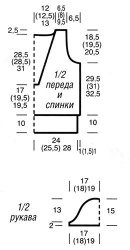 Пуловер с короткими рукавами из узора «куриная лапка» схема