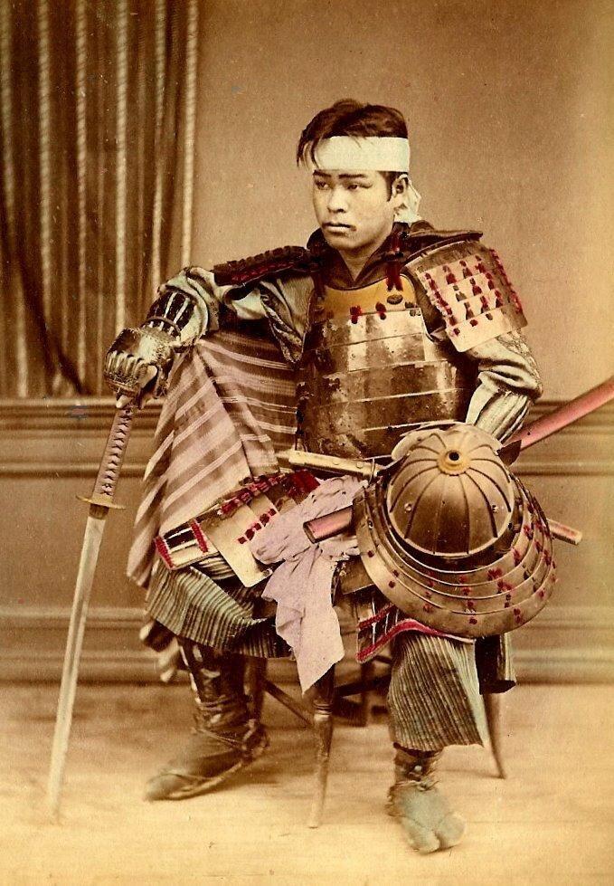 Old Japan.Молодой японский самурай.1870-80.