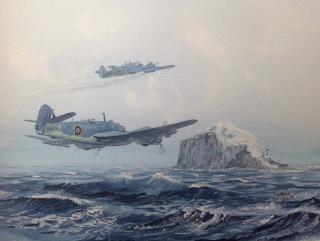 Rocket armed Beaufighters passing the Bass Rock while using the near by range to the west of North Berwick.