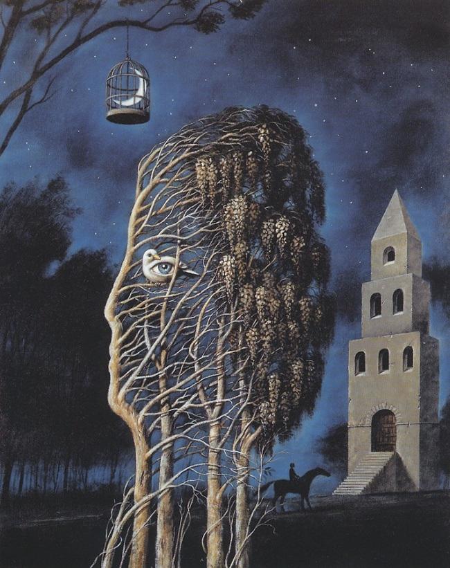 Рафал Ольбиньский известен серией сюрреалистических плакатов к оперным представлениям и картинами, к