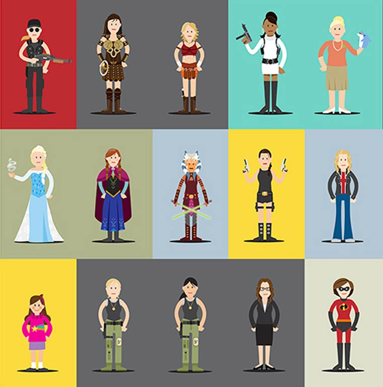 Hall of Heroes - 80 personnages feminins cultes reunis en un poster