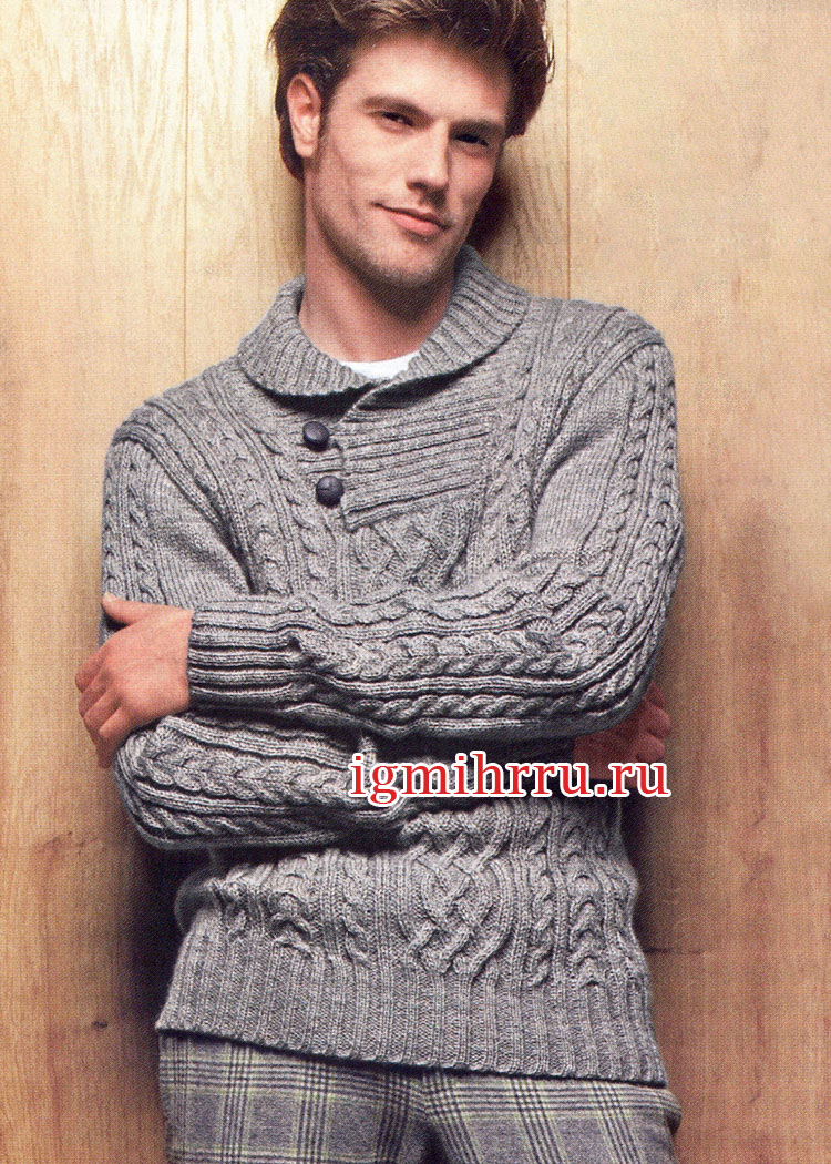 Мужской пуловер с воротником на пуговицах и узорами из кос. Вязание спицами