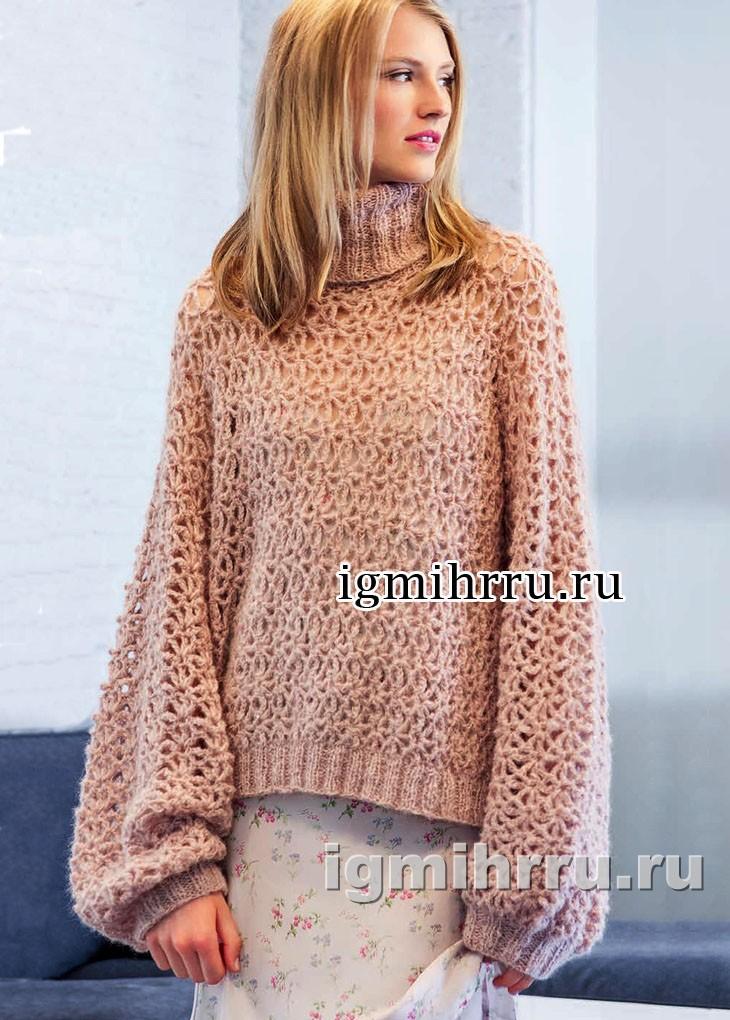 Ажурный объемный пуловер персикового цвета. Вязание крючком