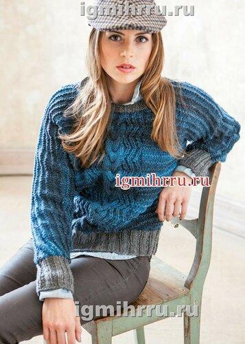 Шерстяной пуловер с рукавами летучая мышь. Вязание спицами