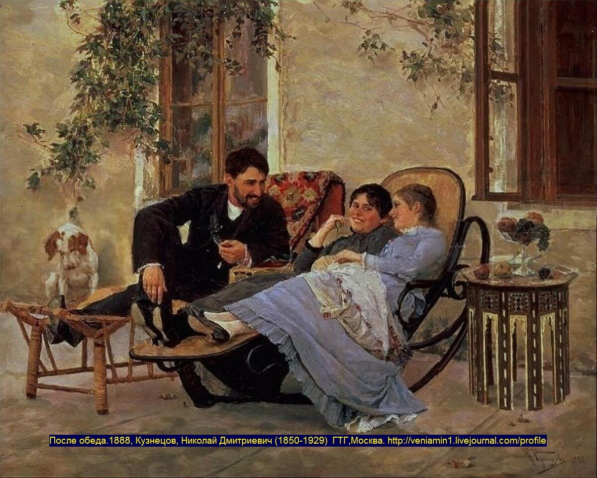 После обеда.1888, ГТГ, Кузнецов, Николай Дмитриевич (1850-1929)