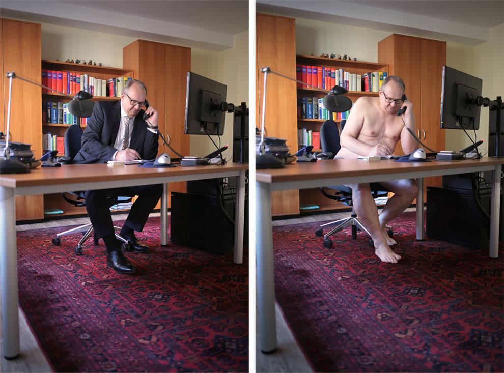В одежде и без: фотограф из Германии раздевает моделей в привычной для них обстановке