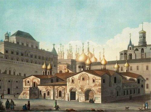 Церковь Спаса на Бору. Рисунок М. Ф. Казакова. 1760-е годы.