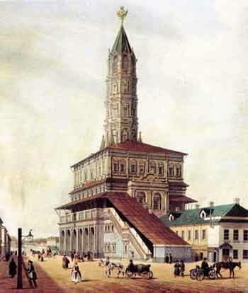 Сухарева башня. Из альбома Виды Москвы, 1846. Ф. Бенуа.
