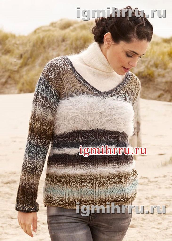 Пуловер из разных видов пряжи. Вязание спицами