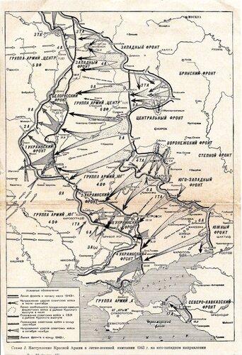 Карта фронта от середины лета до конца 1943 года
