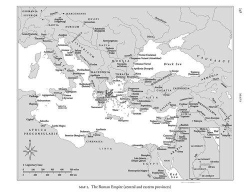 Карта центральных и восточных провинций Римской империи