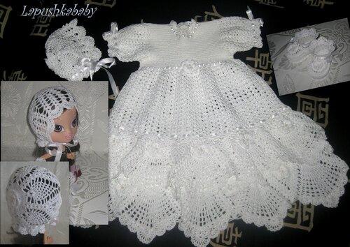 Прелестный крестильный и просто нарядный комплект крючком для малышки -платье,чепчик,пинетки