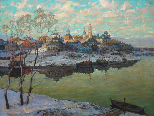 1876 1945 ранняя весна город на реке 1916