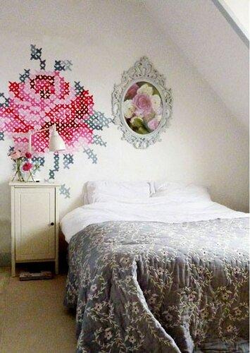 Ручная роспись стен имитация вышивки крестиком
