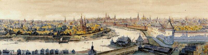Вид на центр с востока, с Красного холма в 17 веке. Михаил Петрович Кудрявцев.