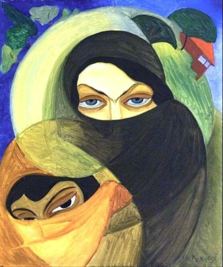 Adjarian women in chadors. Oil on canvas, 1921, by Shalva Kikodze (1894-1921)