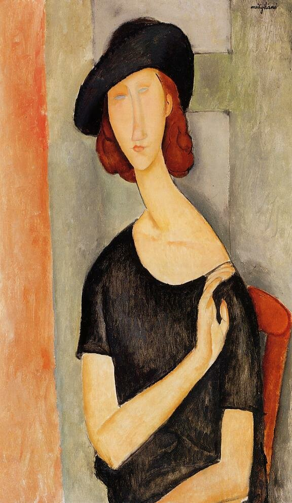 Jeanne Hebuterne in a Hat - 1919 - Private collection - Painting - oil on canvas.jpeg