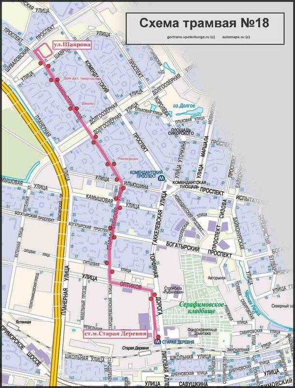 Шаврова. Схема маршрута