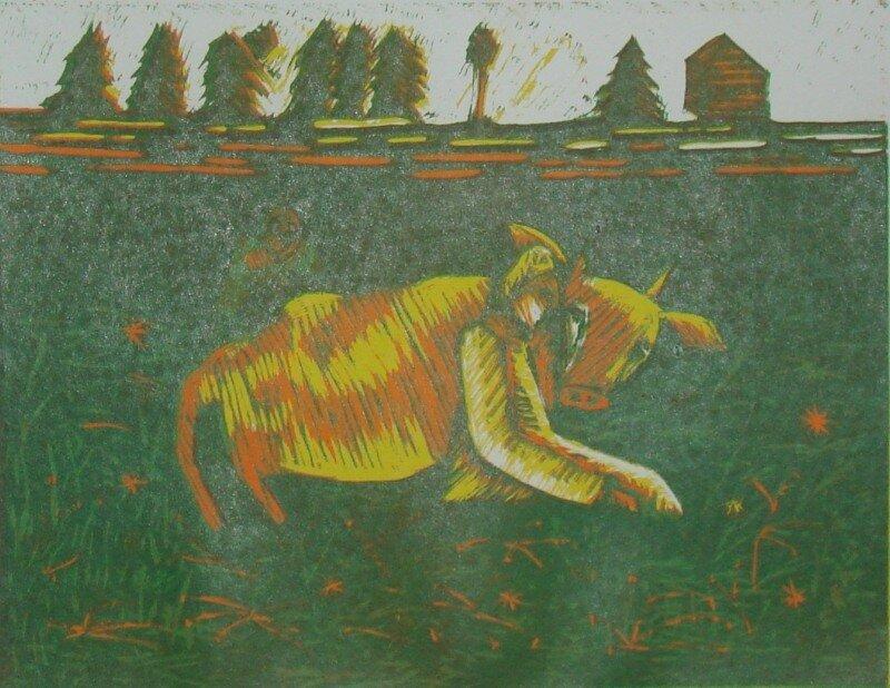 Симонов Кирилл, 13лет. Крошечка-хаврошечка. цв.линогравюра, рук.Юрлов А.Ю. Диплом 3 степени