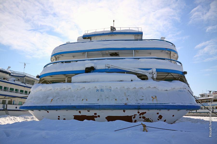 19 февраля 2011 года. Корма теплохода «Княжна Анастасия» в Хлебниково