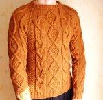 fisherman knit Свитер С косами и ромбами ручная работа,шерсть ,купить