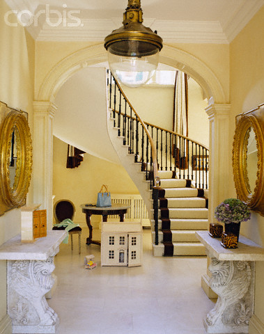 View through Arched Doorway of Curved Staircase