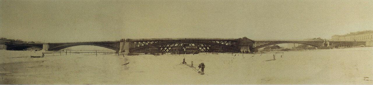 Панорама строительства Литейного моста.Установка арки среднего пролета 15 марта 1879 года в два с половиной часа пополудни. 15 марта 1879