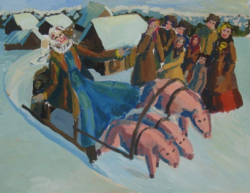 Копылова Мария, 14лет Морозко. б., гуашь, рук.Юрлов А.Ю. Диплом 2 степени
