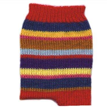 Полосатые носки, связанные спицами